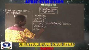 Creation d'une page html partie i